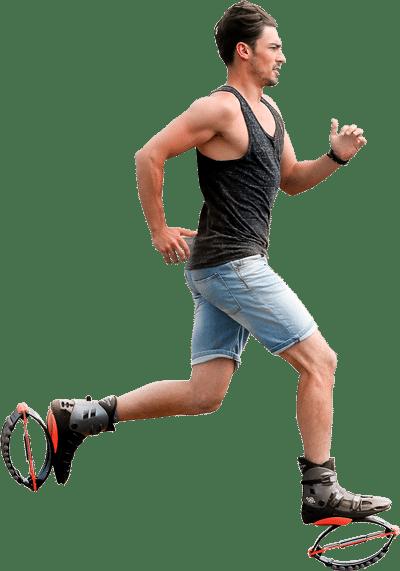 Hombre deportista Kangoo Jumps